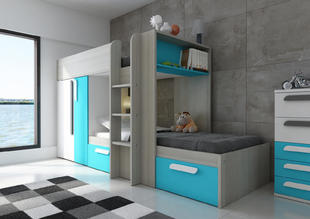 4476c8f46511 Poschodová posteľ pre chlapcov B s modrými prvkami