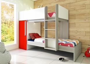 b58930003a530 Poschodová posteľ pre dve deti Bo7 - červená