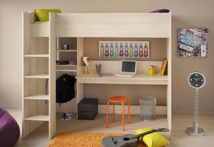 6757184eb4c3 Detská poschodová posteľ s písacím stolom a regálom Kurt