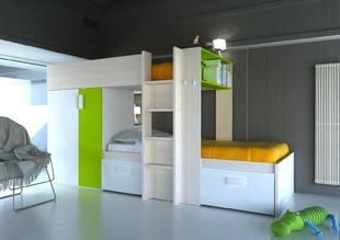 c8f113defcee Poschodová posteľ pre dve deti BO3 - bielená borovica