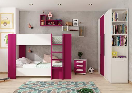 471bb7d5941 Detská izba pre dve dievčatá - kolekcia Bo11 biela, fuchsia