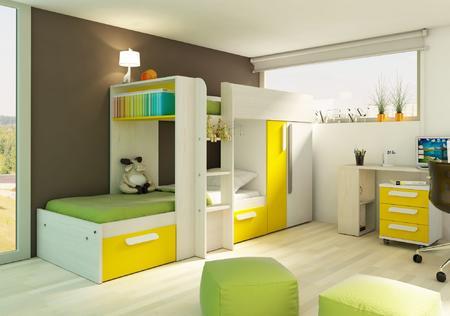 e1427b96e11bc Prvá fotografia predstavuje návrh detskej izby s poschodovou posteľou. Tá  okrem miesta na spanie pre dve deti ponúka tiež šatníkovú skriňu, ...