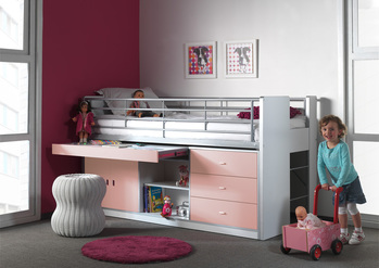 1c624b155ee08 Na fotografiách predstavujeme riešenie pre jedno dievča, alebo riešenie detskej  izby pre dve dievčatá návrhom poschodové postele. Prvá fotografia ponúka  pod ...