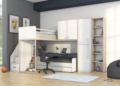 278585cc493d5 Uviedli sme návrh detskej izby, ktorý je riešený pomocou naozaj  netradičného dizajnu poschodové postele. Skrytých úložných priestorov je tu  celý rad a celá ...